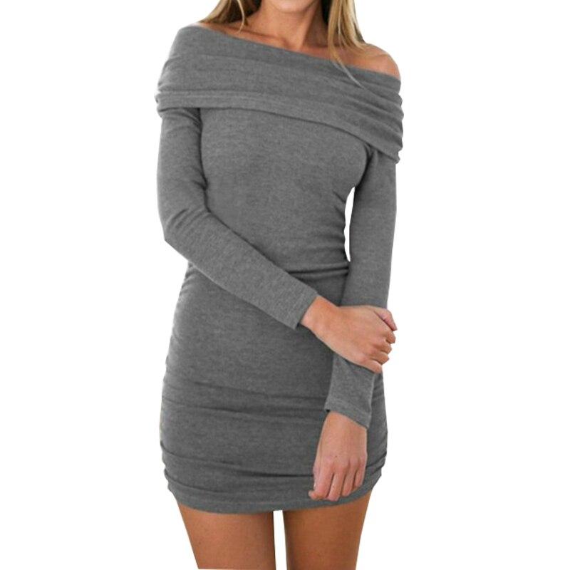 Cowl Neck Long Sleeve Winter Dress Women Off Shoulder Knitted Mini Dresses 2018 Female Robe Jurken Elegant Autumn GV967 alex evenings women s beaded cowl neck long jersey dress