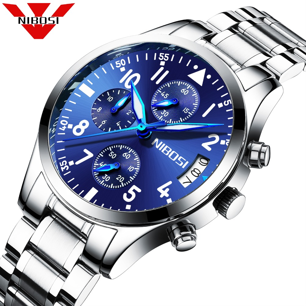 Top zīmols Nibosi Sport Quartz Watch Vīriešu Pulksteņi Kalendārs - Vīriešu pulksteņi