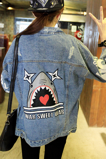 Free Shipping 2018 Back Pattern Young Girl Denim Outerwear Bf