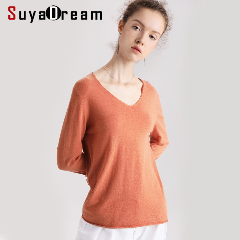 Women Wool Pullovers 100%Wool V Neck Long Sleeved Solid Sweater 2019 Fall Winter Bottomting Wool Sweaters