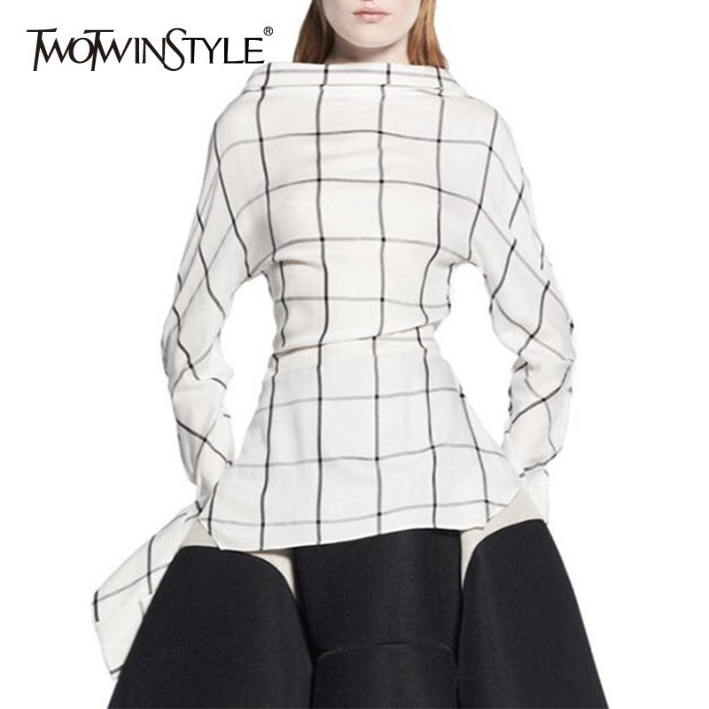 TWOTWINSTYLE 2019 Summer Casual Shirt For Women Lapel Collar Long Sleeve Slim Plaid Blouse Top Female
