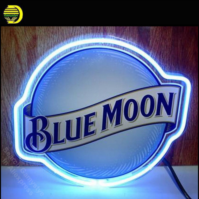 NEON SIGN For BLUE MOON Signage REAL GLASS BEER BAR PUB