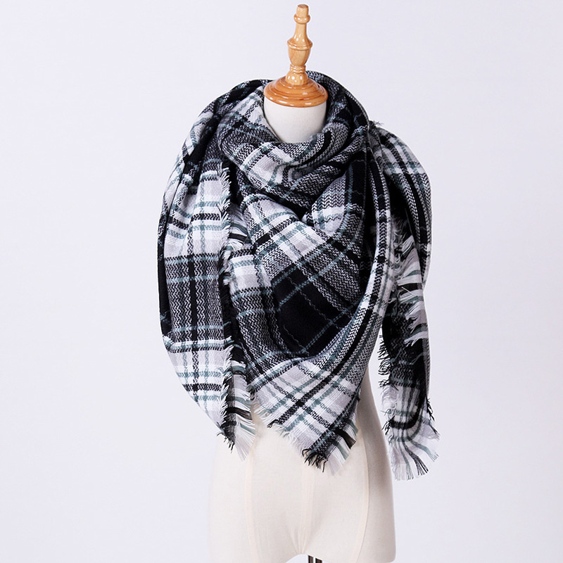 women ladies fashion colorful Plaid Winter faux Cashmere Scarf and Shawls Thick Warm Blanket square scarves Poncho bufanda