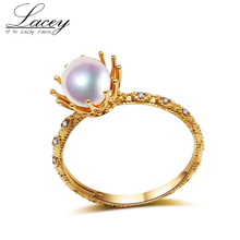 18k gold engagement ring,natural akoya pearl ring jewelry,white round fine jewelry for women Christmas gift