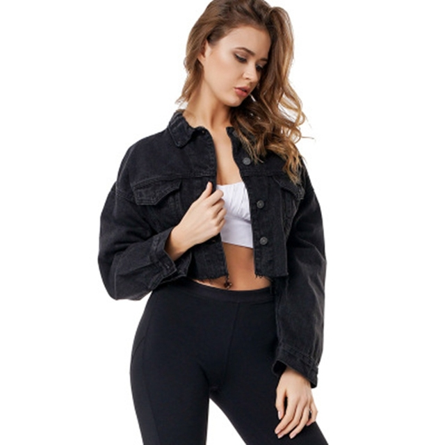 החבר ז אן מעיל נשים גדול יבול ינס מעילי Vintage ארוך שרוול קצר מעיל מזדמן רופף מעיל שחור מפציץ מעיל