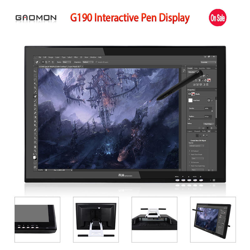 Promotion New GAOMON G190 19 Inches Interactive Pen Display LCD Touch Sreen Monitors Graphic Drawing Digital Tablet Monitors new ew32f10ncw industrial output devices display lcd monitors