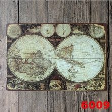 Buy metal world map and get free shipping on aliexpress tin sign wall decor retro metal bar poster beer old ancient world map globe 20x30cm gumiabroncs Gallery