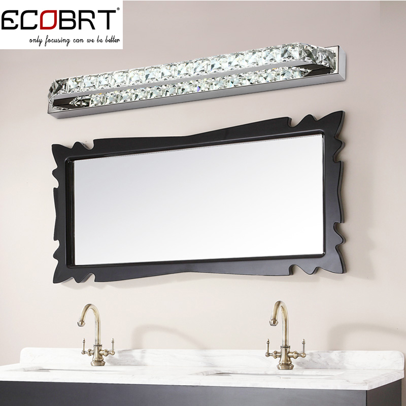 ECOBRT Top Quality Modern 18W LED Bathroom Wall Light Fxiture Crystal lighting lamps 68cm Long Mirror Lights 220V CE ROHS