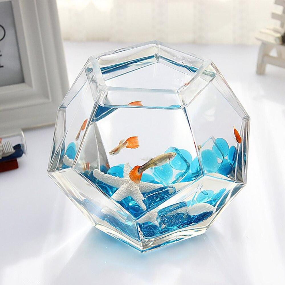 Petit réservoir de poisson Betta Mini réservoir de poisson créatif de bureau réservoir de poisson en plexiglas acrylique avec lumière avec couvercle