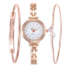 3pcs/set New Women Luxury Brand Watch Simple Diamond Quartz Lady Rose Gold Wristwatch Female Fashion Casual Watches Clock(China)