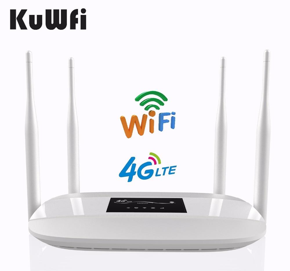 KuWFi Sbloccato 4g LTE Router Wireless 300 Mbps Indoor Wireless CPE Router 4 pz Antenne Con Porta LAN & SIM Card Slot Fino a 32 utenti