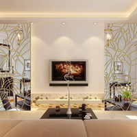 3D DIY Mirror Wall Sticker Removable Home Decor Roof Ceiling Mirror Crystal Wall Sticker Living Room