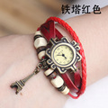 Wholesale Fashion Tower Pendant Cow Leather watch women ladies dress quartz wrist watch with wooden bead KOW059