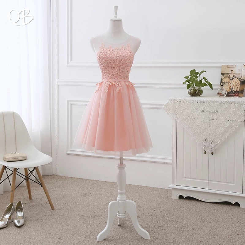 A-line Tulle Lace Short Evening Dresses 2019 New Formal Elegant Party Dress Wine Red Pink Blue Gray EN01K