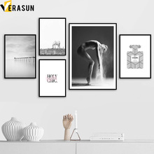 ФОТО girl dancer perfume horse wall art canvas painting nordic posters and prints landscape wall pictures for living room home decor