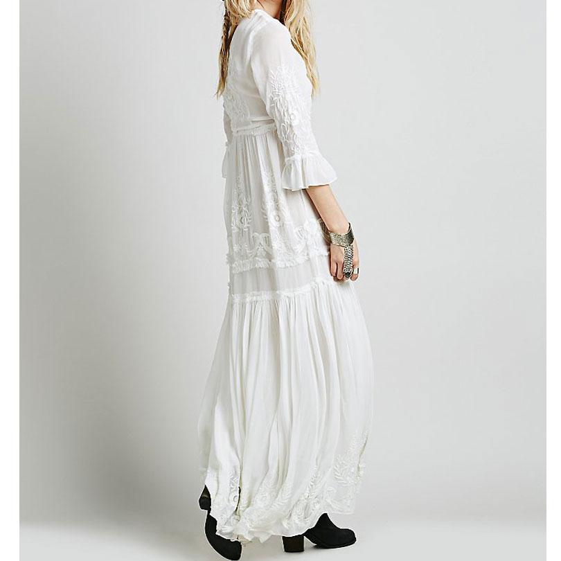 Luckeytimes Bohemia Broderi Hvid Kjole Kvinder Sort Ruffles Elegant - Dametøj - Foto 3