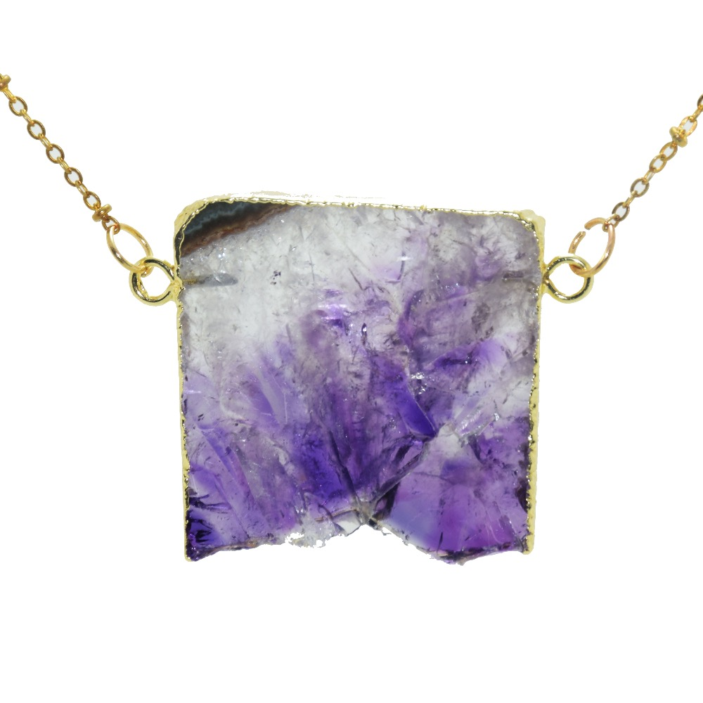Raw Purple Amethyst Crystal Necklace Pendant Boho Stone Jewelry for Women