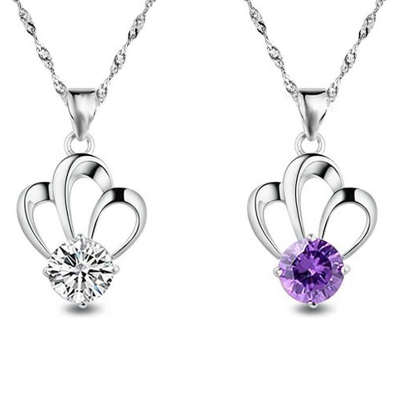Korean version of 925 sterling silver crown Amethyst zircon Necklace female fashion pendant fashion jewelry pendant