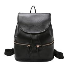 Casual Soft Leather Backpack Women PU Drawstring Backpack Zipper Girls School Bags Travel Rucksack Back Pack Bagpack Mochila