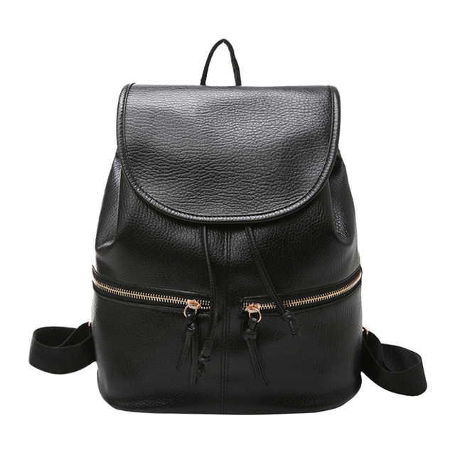 Casual Soft Leather Backpack Women Pu Drawstring Zipper S School Bags Travel Rucksack Back Pack
