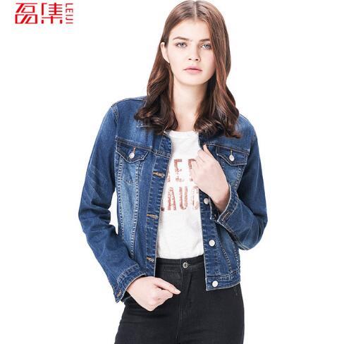 85925ca12ceb9 Leiji 2018 Plus Size Women Denim Jacket Light Washed Autumn Solid Dark Blue  Color Cotton Women s Long Sleeve Jeans Coats 5XL 6XL
