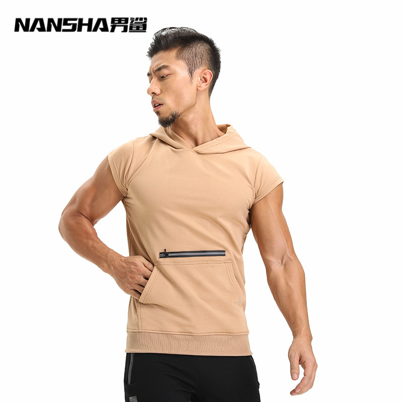 NANSHA Brand Big Zipper Pocket Hooded Tank Top Men New Bodybuilding Stylish Sleeveless Hooded Vest Casual Slim Fit Men Clothing