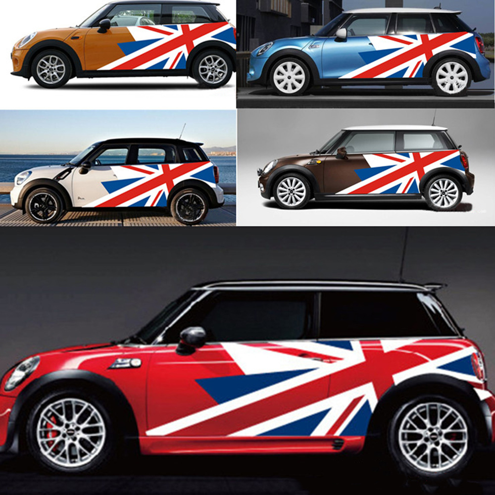 union jack car exterior door side body stickers decal for mini cooper countryman r60 r55 r56 f55. Black Bedroom Furniture Sets. Home Design Ideas