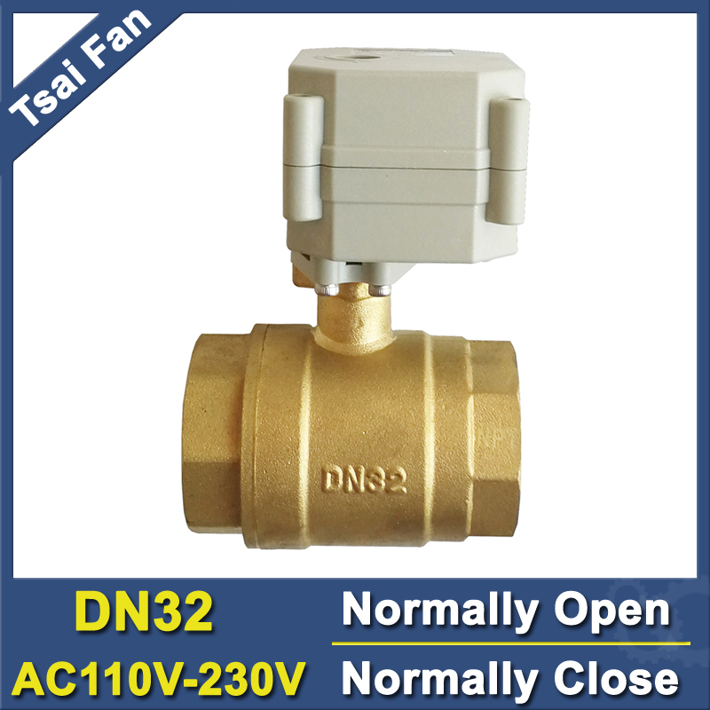 Recommend 2 Way Brass 11/4'' Normal Open/Close Motorized Ball Valve AC110V-230V 2/5 Wires DN32 Electric Valve With Indicator tsai fan motorized ball valve 2 ac110 230v 2 5 wires electric valve dn50 upvc ball valve normal close open for hvac systems