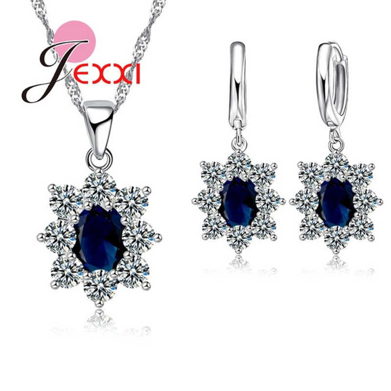 Classic 925 Sterling Silver Necklace Earrings Jewelry Set Crystal Fashion Bijoux Women Wedding Gifts Fast Shipping