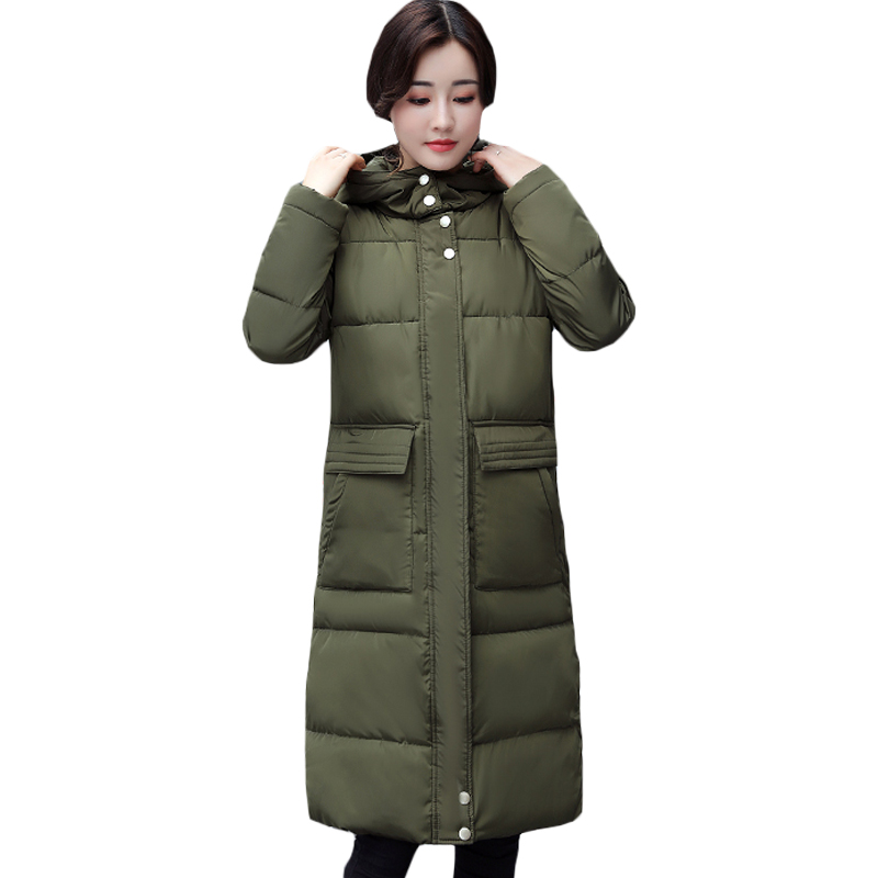 New 2017 Winter Women Wadded Jacket Coat Solid Color Long Thick Parkas Female Hooded Slim Down Cotton Padded jackets Coat XH1053 2017 new women winter coat long quilted jacket thick warm solid color cotton parkas female slim hooded zipper outwear okb88