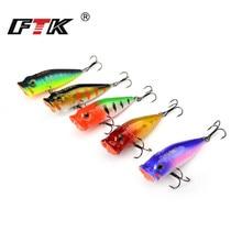 FTK Fishing Lure Kit 5pcs/lot Professional 3D Eye Lifelike Bass Swim Bait Hard Popper VIB 65mm 6g Floating Hook Wobbler HB