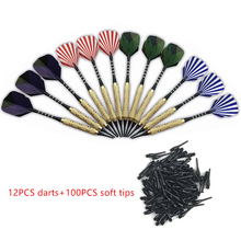 12 pcs Plastic Soft Tip Darts With 100 Extra Tips  Nice Flights professional Electronic Dart Set Needle Replacement A