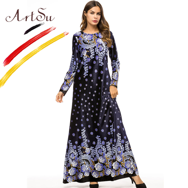 ArtSu Women Elegant Long Sleeve Floral Print Ethnic Maxi Dress Plus ...