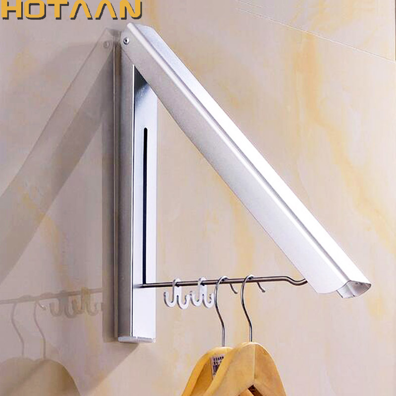 free shipping aluminium wall hanger retractable indoor clothes hanger clothes towel rack bathroom laundry rack clothes - Clothes Wall Hanger