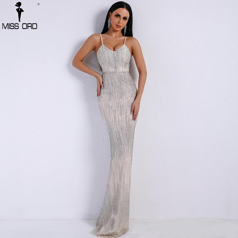 Missord 2019 Women Sexy V Neck  Off Shoulder Backless Glitter Dresses Female Elegant Party Maxi Dress FT9226