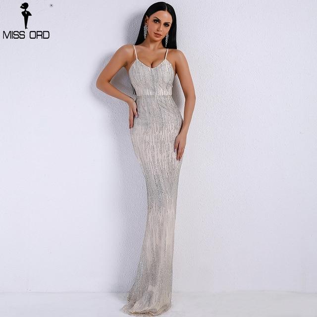 Missord 2019 для женщин Sexy V образным вырезом с открытыми плечами спинки блеск платья для вечерние женские элегантные вечерние Макси платье Vestdios FT9226