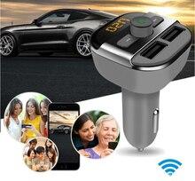 Coche Reproductor de Audio MP3 Transmisor FM Inalámbrico Modulador Bluetooth Coche Kit de Manos Libres Con 3.4A Cargador Dual USB TF Ranura CY359-CN