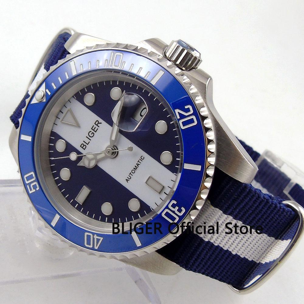 Sapphire Glass 40MM BLIGER White Blue Dial Blue Ceramic Bezel Luminous Marks MIYOTA Automatic Movement Mechanical Men's Watch цена и фото