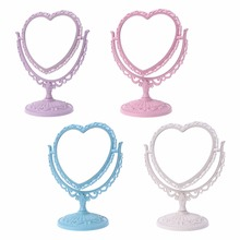 2 Sides Heart-shaped Makeup Mirror Rotatable Stand Table Compact Dresser 21x26cm 4 Color