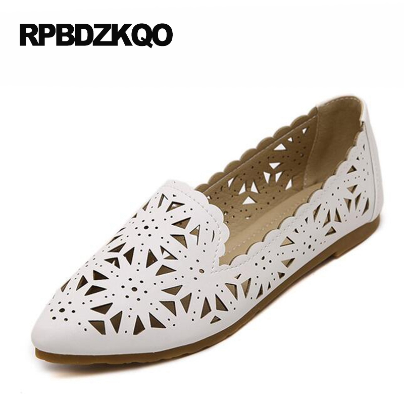 Pink Pointed Toe Chinese Slip On 2017 Ladies Beautiful Flats Shoes 10 Women White Large Size 11 Hollow Out Breathable Korean 33 beyarne spring summer women moccasins slip on women flats vintage shoes large size womens shoes flat pointed toe ladies shoes