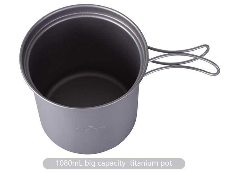 Ilimitado viagem titanium pot pan conjunto com