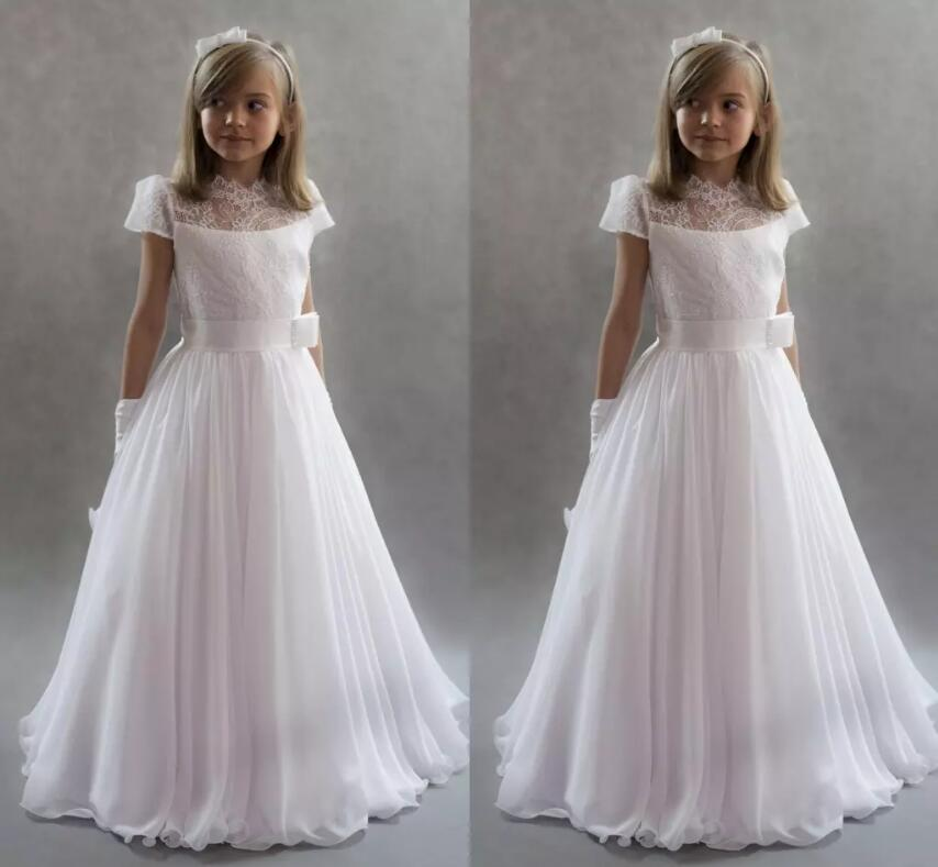 White Princess Flower Girls Dresses For Weddings Cap Sleeves Lace Chiffon Floor Length First Communion Dresses