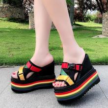 BZBFSKY Summer fashion wear women's slippers 2019 new wild super high with 15CM platform slippers