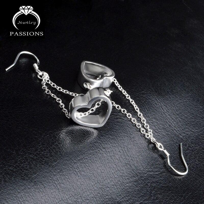 Hot prodej kouzlo velká láska srdce přívěsek náušnice 925 mincovní stříbro vintage dlouhé střapcem kapky pro ženy Maxi náušnice dárek