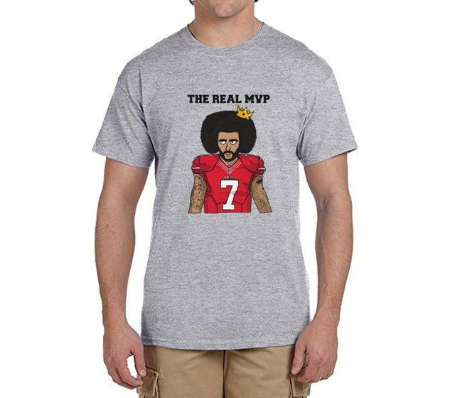 10394e835 The Real MVP  Colin Kaepernick funny 100% cotton t shirts Mens 7 Fashion T- shirts for 49ers fans 0214-9