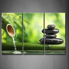 3 Panels Unframed Wall Art Pictures Spa Bamboo Fountain Zen Stone Canvas Print Modern Botanical Posters For Living Room