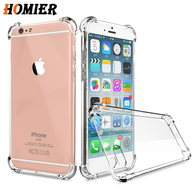 buy popular 49ffe 4dd06 US $0.88 56% OFF|Transparent Airbag Drop Protection Case For iPhone 7 8 XR  XS Max Phone Case Soft TPU Clear Cover For iPhone X 5 5s 6S Plus Case-in ...