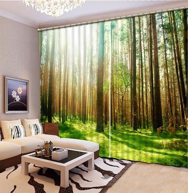 custom elke maat moderne stijl mode 3d gordijnen bos gordijn beddengoed kamer 3d gordijnen fabriek diret