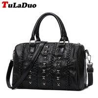 New Fashion Rivet Tote Bag Ladies Black Large Soft Leather Patchwork Handbag Women Boston Bag Big