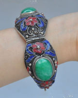 shipping>>>>China's Tibet dynasty palace cloisonne silver inlaid jade bracelet, too NRR011 5.24